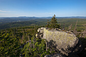 View from Hochstein at Dreisessel mountain over the Bavarian Forest, Bavaria, Germany