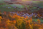 View from Bruchhauser Steine to Bruchhausen village, near Olsberg, Rothaarsteig hiking trail, Rothaar mountains, Sauerland, North Rhine-Westphalia, Germany