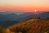 Sunset, view over the woody hills, near Wildewiese, Rothaar mountains, Sauerland, North Rhine-Westphalia, Germany