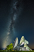 milkyway above the dish aerials of the earth station Raisting, Bavaria, Germany