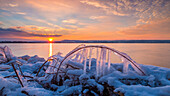 icicles on a branch at the shore of lake Ammersee, Bavaria, Germany