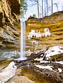 Waterfall in the Pähl valley at wintertime, Fünfseenland region, Bavaria, Germany