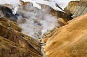 Smoke in the geothermal region of Kerlingarfjoell, highland of Iceland