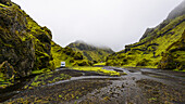 Camping in a riverbed in the green moss, Þórsmörk, southcoast, Iceland