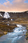 stunning Dynjandi waterfall in the westfjords of Iceland