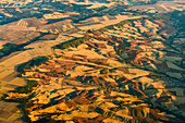 aerial of dry hills north of Madrid, Spain