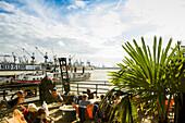 Beach Club Strand Pauli, at the jetties in the Port of Hamburg, St Pauli district, Hamburg, Germany