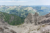 Mountain panorama, rock avalanche, erosion, Allgäu, Kemptner House, long distance hiking trail, mountain landscape, summit, hiking holiday, nature, Mountain tour, hiking trails, Allgäu, Bavaria, Oberstdorf, Germany