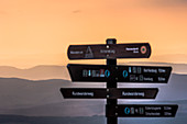 Harz, Saxony-Anhalt, mountain, climatic health resort, winter sports resort, recreation area, family vacation, hiking, landscape, sunset, dusk, signpost, signage, information signs, scouting