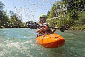 Germany, Bavaria, Alps, Upper Allgaeu, Oberstdorf, Summer landscape, Summer holidays, Kayaking in a mountain river, Whitewater Rafting