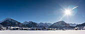 Germany, Bavaria, Alps, Oberallgaeu, Oberstdorf, Nebelhorn, Rubihorn, Winter landscape, Winter holidays,  Hiking, Winter sports, Mountain panorama, Mountain peaks