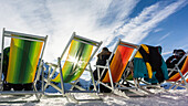 Austria, Germany, Bavaria, Alps, Oberallgaeu, Oberstdorf, Kleinwalsertal, Kanzelwand, Winter landscape, Winter holidays, Winter sports, Relaxing on the summit in deckchairs