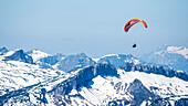 Germany, Bavaria, Alps, Oberallgaeu, Oberstdorf, Ifen, people paragliding, tandem flight, mountains, summit