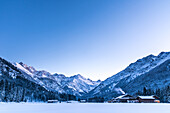Germany, Bavaria, Alps, Oberallgaeu, Oberstdorf, Stillachtal, winter landscape in the morning, winter holidays, snow, mountains, mountain farm
