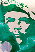 Image of Ernesto Che Guevara, leader of the cuban revolution, graffiti in the town center, old town, Habana Vieja, Havana, Cuba, Caribbean island