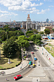view from the roof of Hotel Saratoga to Habana Centro and Chinatown, oldtimer, cars, historic town, center, old town,  family travel to Cuba, parental leave, holiday, time-out, adventure, Havana, Cuba, Caribbean island