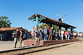 small train station, starting point for tours into the Valle de los Ingenios with a steam locomotive, formerly famous for sugarcane plantations, family travel to Cuba, parental leave, holiday, time-out, adventure, Trinidad, province Sancti Spiritus, Cuba,