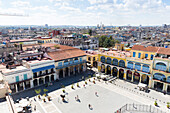 View to the Plaza Vieja, historic town center, old town, Habana Vieja,  family travel to Cuba, holiday, time-out, adventure, Havana, Cuba, Caribbean island