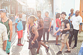 young cuban people and touristis walking through Habana Vieja, calle obispo, family travel to Cuba, holiday, time-out, adventure, Havana, Cuba, Caribbean island
