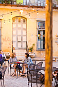 tourists, local people at cafe del Angel, historic town center, old town, Habana Vieja, Habana Centro, family travel to Cuba, holiday, time-out, adventure, Havana, Cuba, Caribbean island