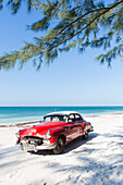 Red oldtimer on the beach of Cayo Jutias, beach holiday, lonely dream beach, beautiful small sandy beach, turquoise blue sea, palm tree, family travel to Cuba, parental leave, holiday, time-out, adventure, Cayo Jutias, near Santa Lucia and Vinales, Pinar
