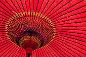 Detail of a large red parasol produces a strong graphic, Sakaiminato, Tottori, Japan, Asia