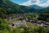 View of Shirakawa with its many historic thatched Gassho-zukuri houses (UNESCO World Heritage Site), Shirakawa, Fukushima, Japan, Asia