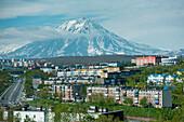 View of Koryaksky volcano from the outskirts of the city, Petropavlovsk-Kamchatsky, Kamchatka, Russia, Asia