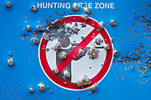 A Hunting Free Zone sign is riddled with bullet holes, Kangerlussuaq, Qeqqata, Greenland