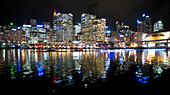 Darling Harbour with city during the Vivid Festival, Sydney, New South Wales, Australia