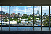 Panoramic window at the restaurant Chiswick at the Gallery in the Art Gallery of New South Wales, Sydney, New South Wales, Australia