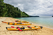 Several kayaks laying in bay, Abel Tasman Coastal Track, Great Walks, Abel Tasman National Park, Tasman, South island, New Zealand