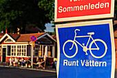 Information sign for cycle path around Lake Vättern, Gränna, Östergötland, Sweden