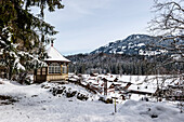 snowy landscape in Winter, Alps, Fischen, Langenwang, Illertal, Hoernerdoerfer, Allgaeu, Baden-Wuerttemberg, Germany, Europe