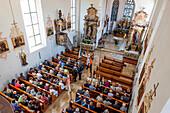 Church service, Roman catholic, Corpus Christi, Feast of Corpus Christi, procession, Sipplingen, Lake Constance, Baden-Wuerttemberg, Germany, Europe