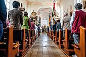 Church service, worship, Roman Catholic, Corpus Christi, Feast of Corpus Christi, procession, Sipplingen, Lake Constance, Baden-Wuerttemberg, Germany, Europe