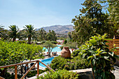 Hotel pool and garden, hotel, Agia Galini, Crete, Greece, Europe