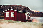 Red cabin in greenland, greenland, arctic.