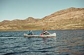 Rowing boat in greenland, greenland, arctic.