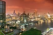 Millenium Hilton, 360 Rooftop Bar, skyline view point, Chao Praya River, CAT Telecom tower, State Lebua Tower,  skybar, Lounge, rooftop, bar, Bangkok, Thailand