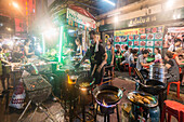 Chinatown, night market, cook with woks,  Restaurant, street food, Bangkok, Thailand