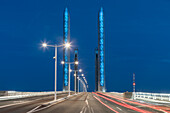 Pont Jacques Chaban Delmas, highest lift bridge in europe, twilight, Bordeaux, Gironde, Aquitane, France , Europe