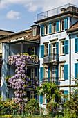 Balcony with flowers, old city center, Zur Schanze, Zurich, Switzerland