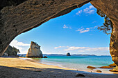 View from inside the Cathedral Cove onto the Mercury Bay, Coromandel, North Island, New Zealand