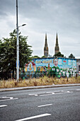 murals at dividing wall in between Catholics and Protestants, Wester Belfast, Northern Ireland, United Kingdom, Europe