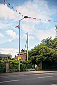street light with attached UK flags, Belfast, Northern Ireland, United Kingdom, Europe