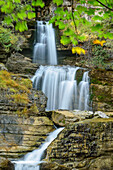 Waterfall flowing down in cascade, Kuhflucht waterfall, Farchant, Ester Mountains, Bavarian Alps, Upper Bavaria, Bavaria, Germany