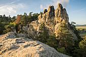 Sandstone rock formation Hamburger Wappen, evening light, Timmenrode, Blankenburg, Harz District, Saxony-Anhalt, Germany, Europe