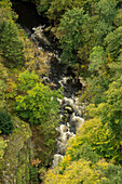 View from the Rosstrappe on river Bode in the Bode Valley near Thale, Harz District, Harz National Park, Saxony-Anhalt, Germany, Europe