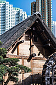 The water mill in the Nan Lian Garden in front of the scenery of the skyscrapers in Kowloon, Hong Kong, China, Asia